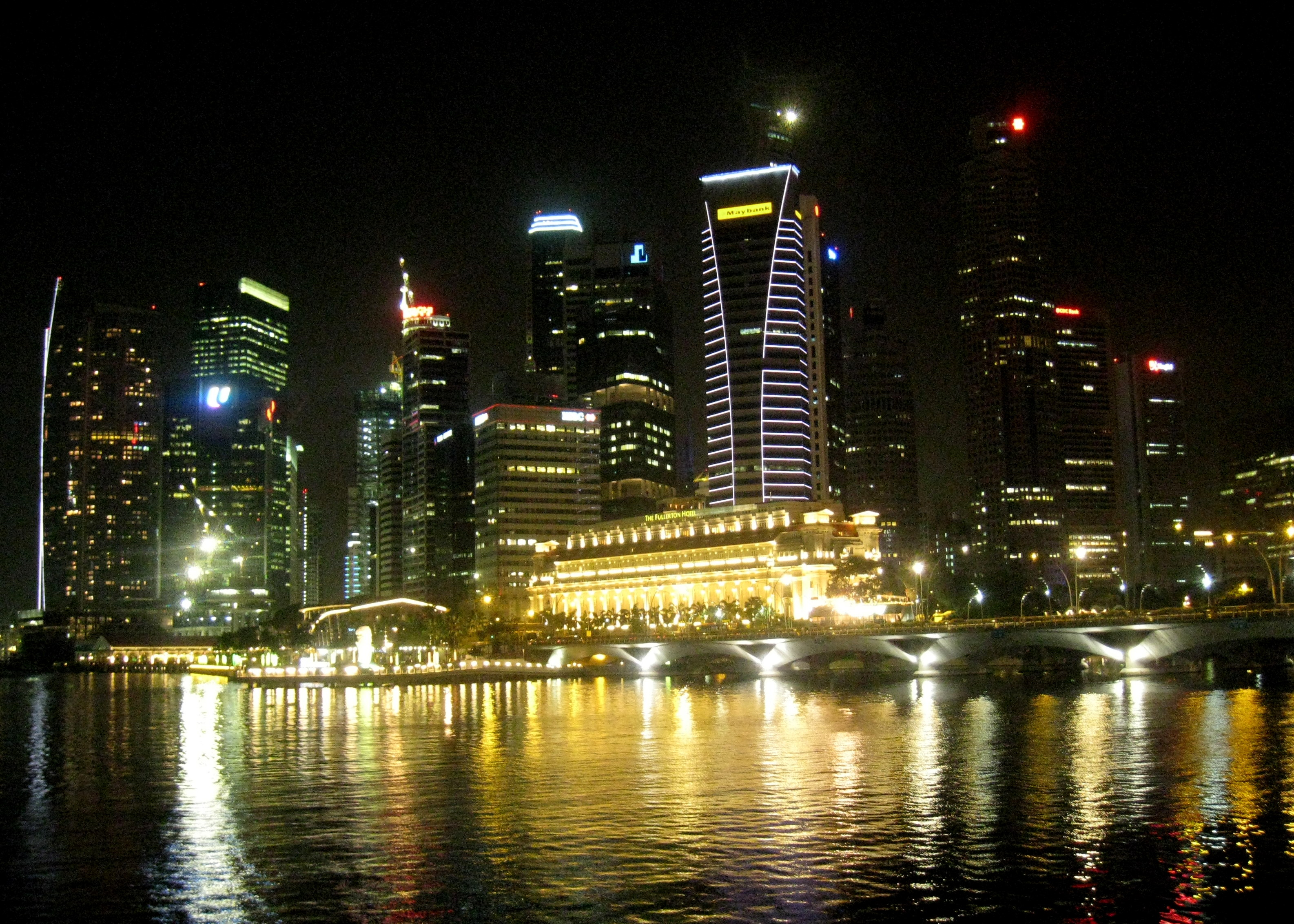 The singapore skyline at night from the esplanade